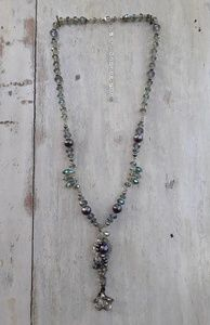 Crystal, pearl, glass and silver necklace